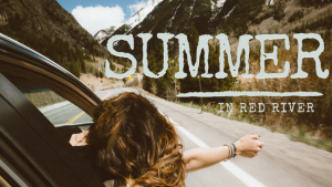 Summer in Red River. Girl driving in mountains